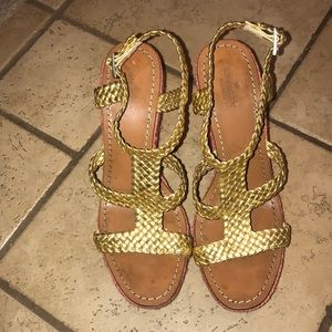 Kate Spade Gold Tianna braided espadrille wedges